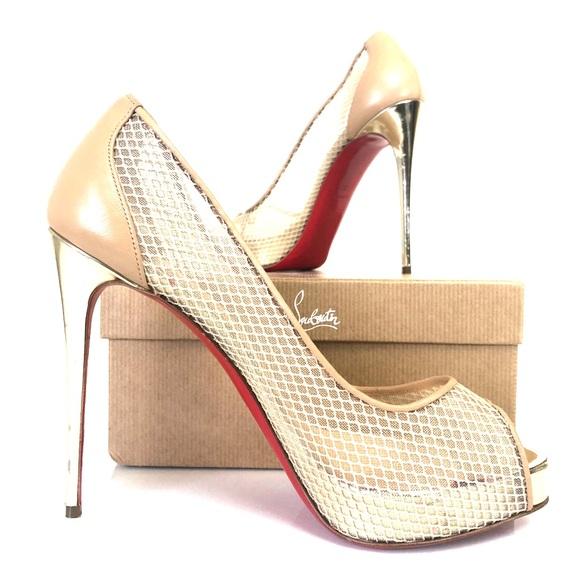 huge discount 964f4 6ff40 Christian Louboutin Very Rete Peep Toe Heels